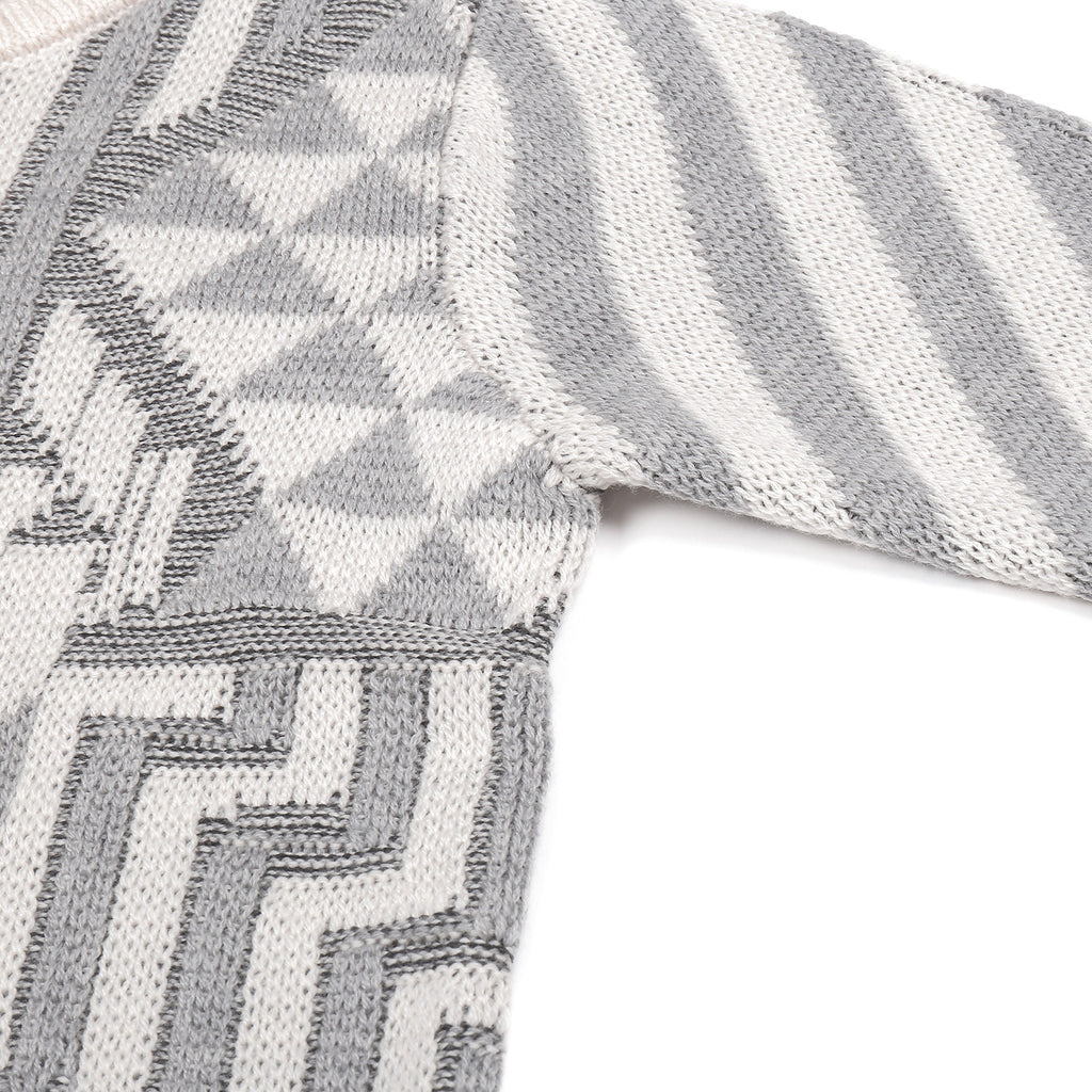 Knit Planet Light Grey & Cream Journey Knit Sweater