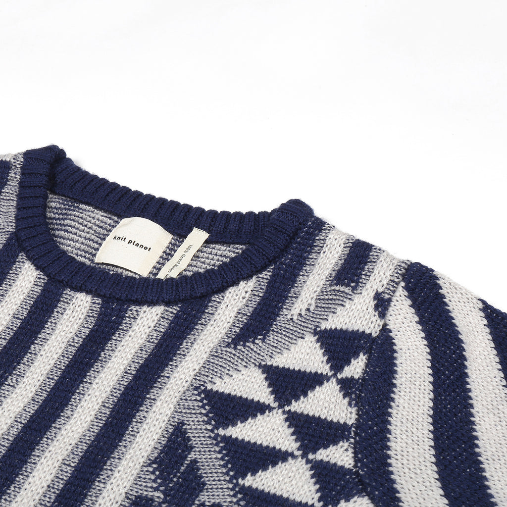 Knit Planet Navy & Cream Journey Knit Sweater