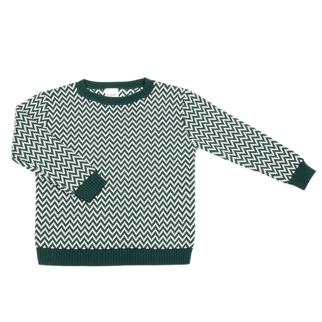Knit Planet Hunter Green Zigzag Knit Sweater