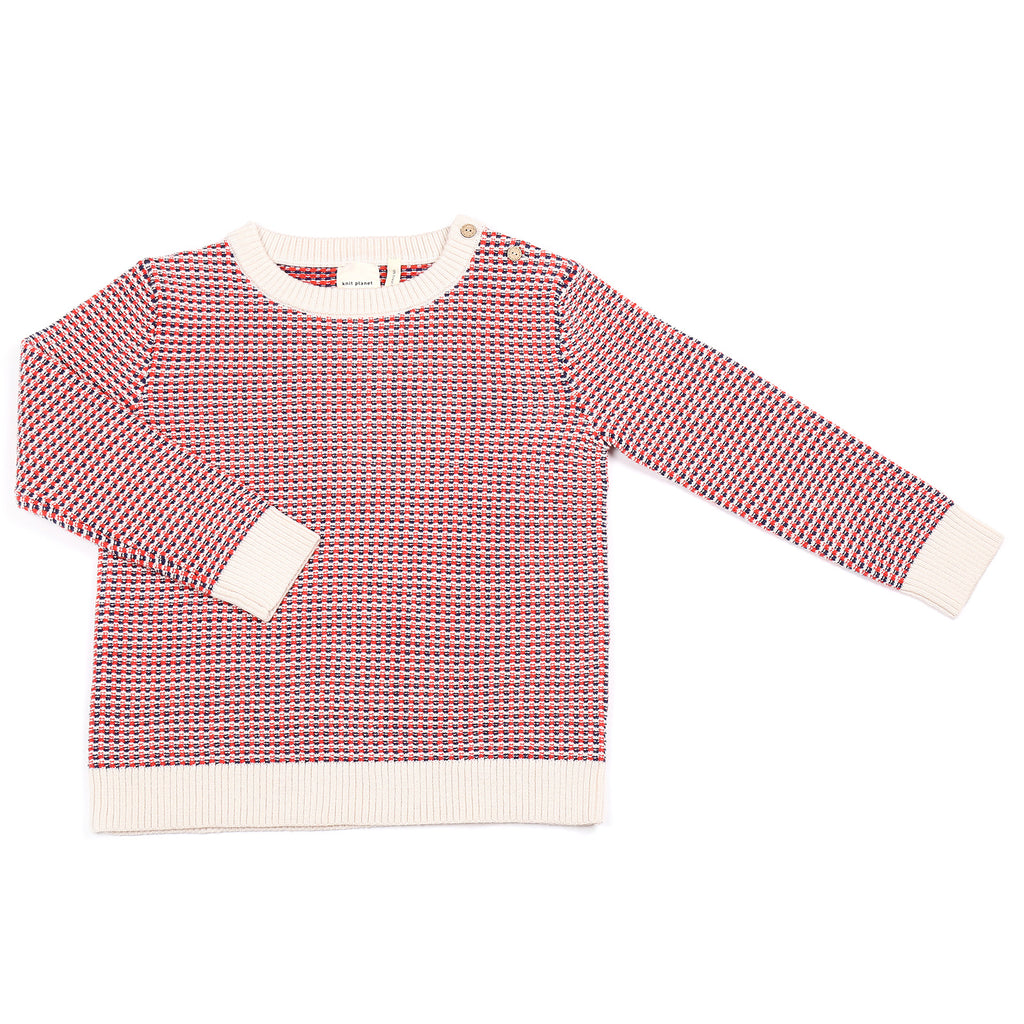 Knit Planet Navy & Red Pixel Knit Sweater
