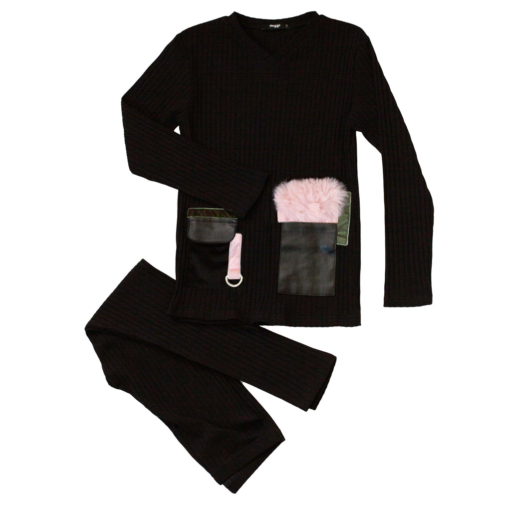 Noggi Black & Pink Pockets Loungewear