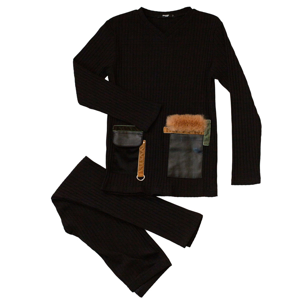 Noggi Black & Camel Pockets Loungewear