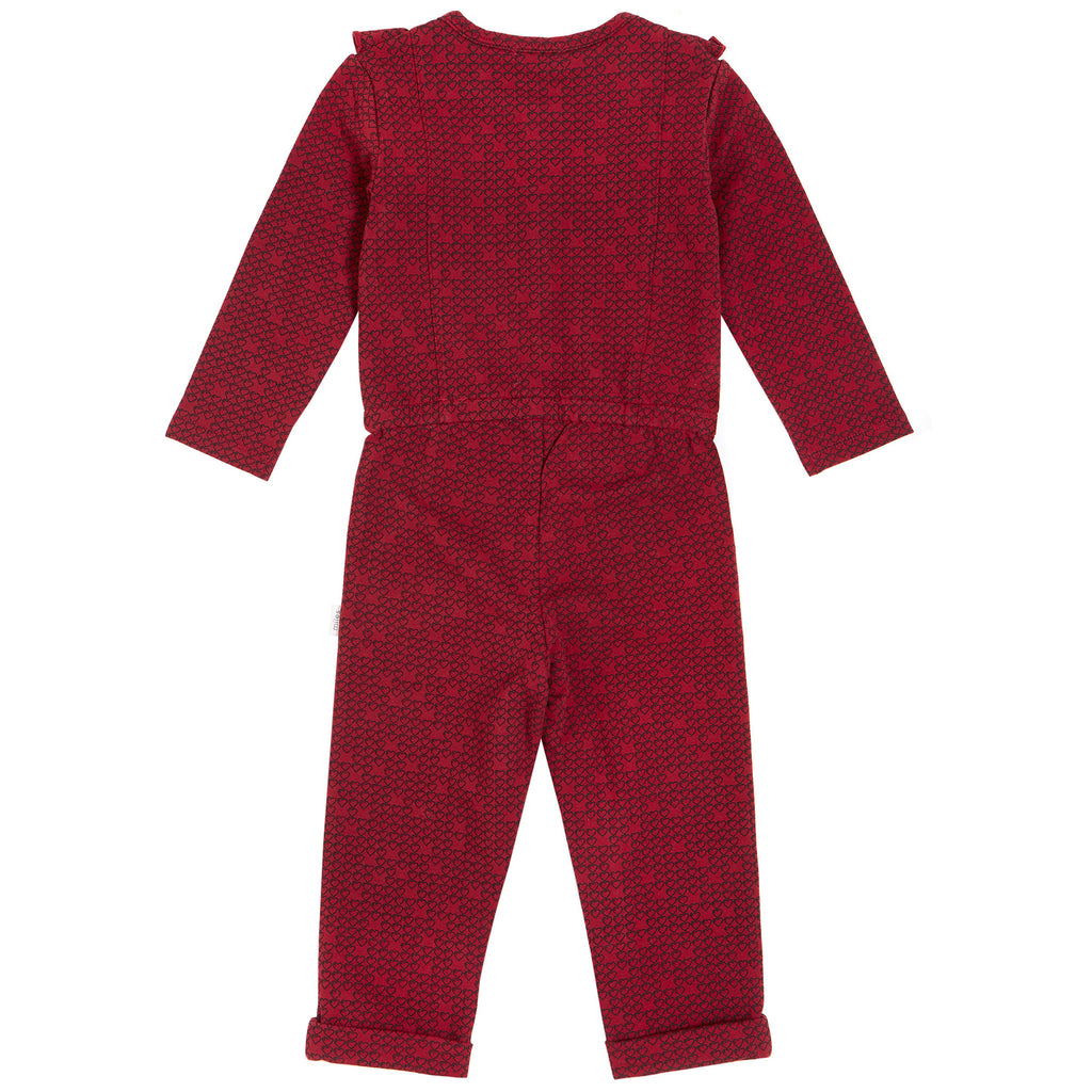 Miles Burgundy Hearts Jumpsuit With Frill