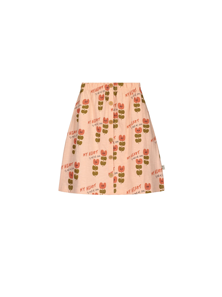 Mainio Pink Heart At Sea Midi Button Skirt