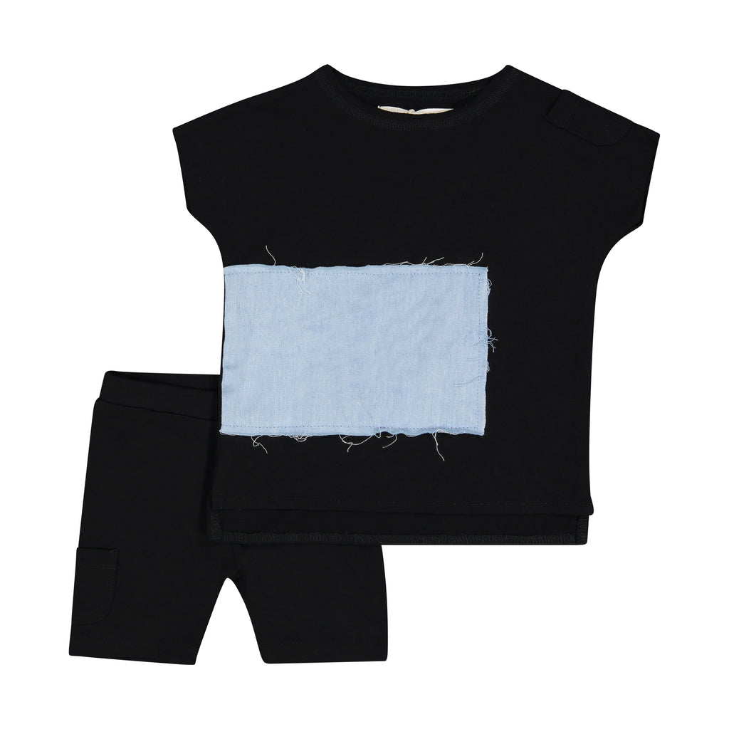 Teela Black Rectangle Patch Baby Set