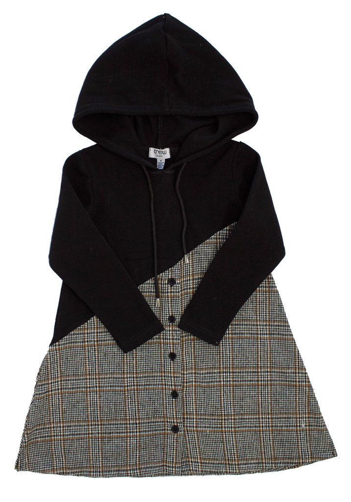 Crew Black & Plaid Hoodie Dress