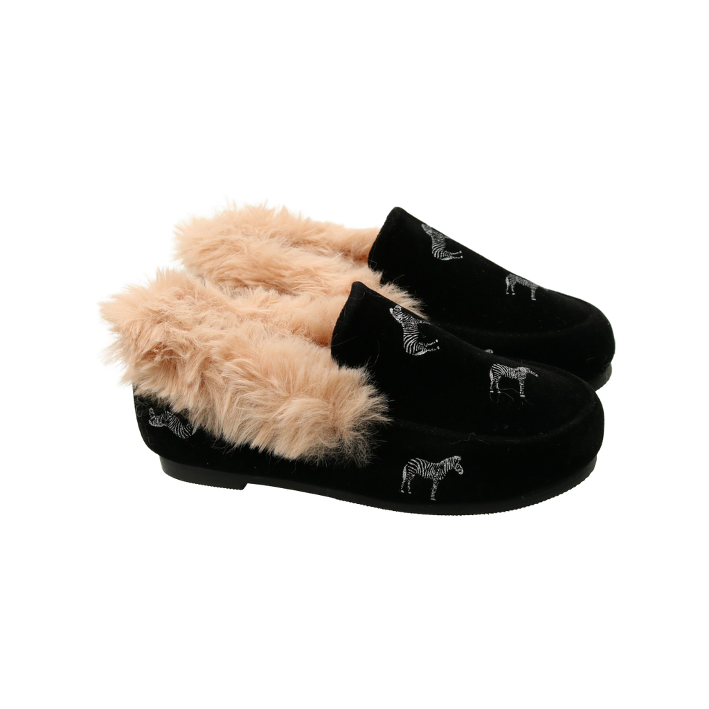 Zeebra Kids Black All Over Logo Slipper