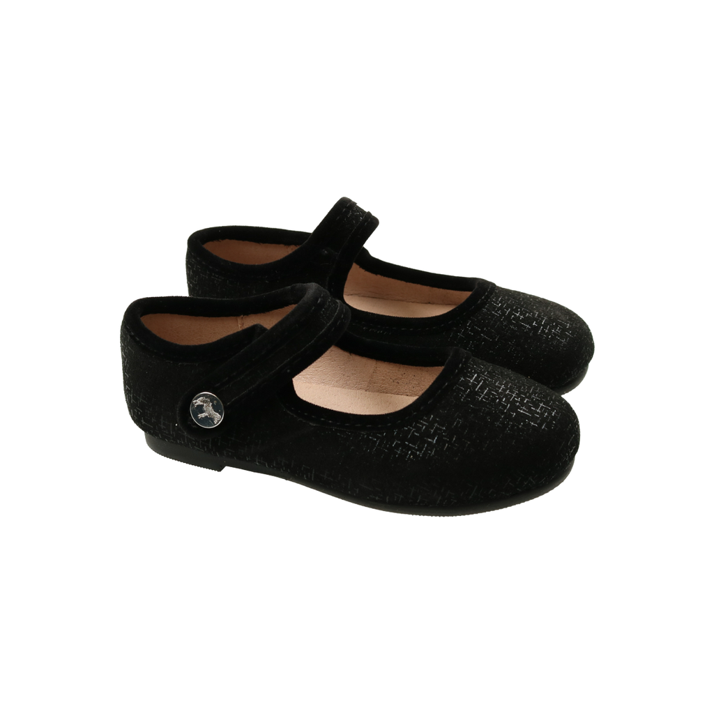 Zeebra Kids Black Metallic Abstract Mary Jane