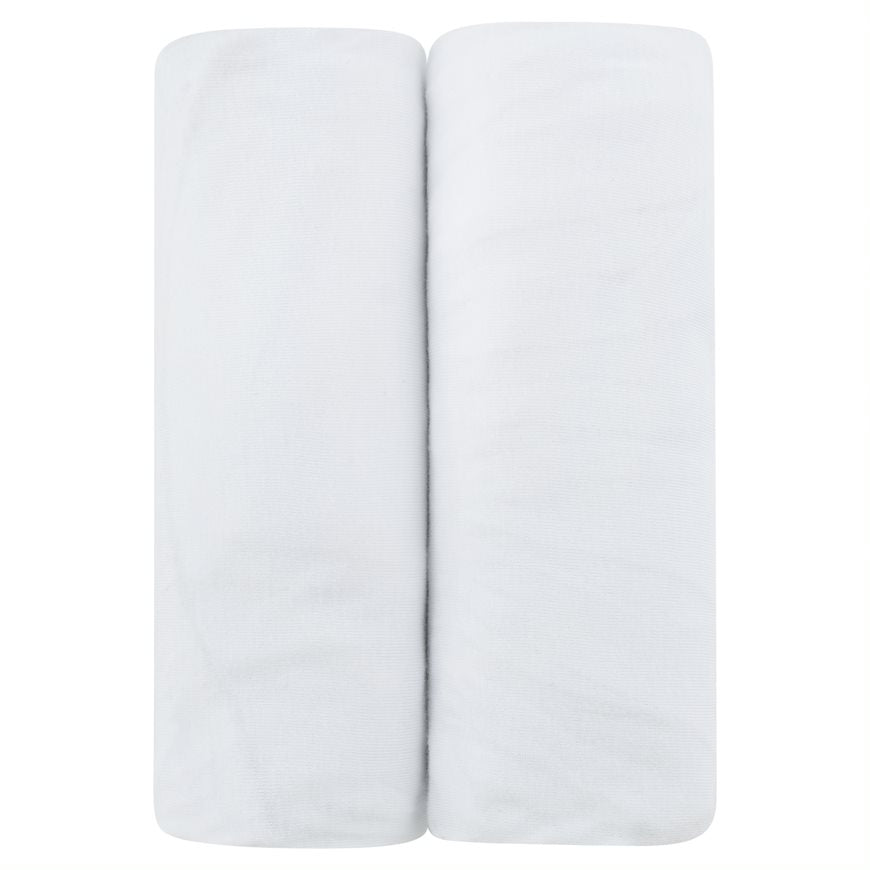 Ely's & Co. 2 Pack Solid White Bassinet Sheets