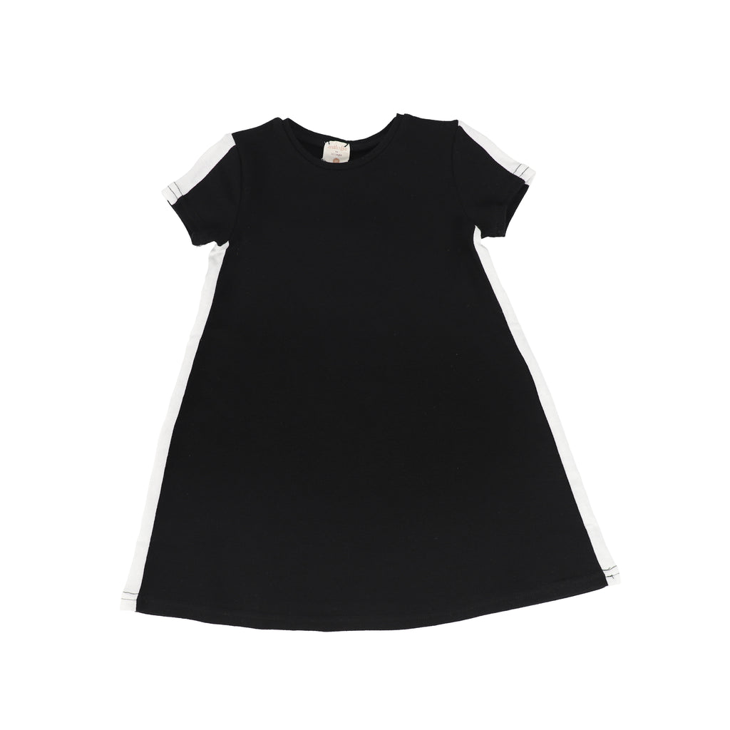 Analogie By Lil Legs Black & White Linear Short Sleeve Dress
