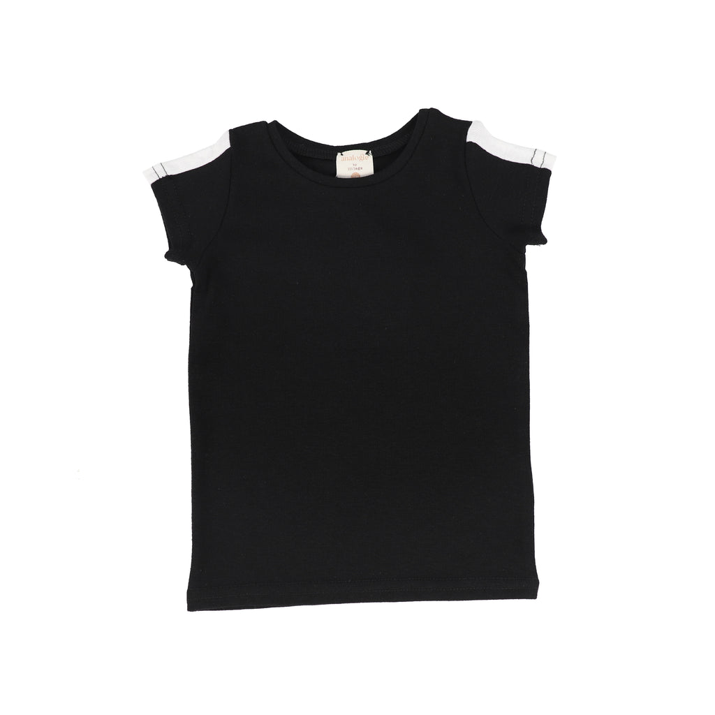 Lil Legs By Analogie Black & White Linear Short Sleeve Tee