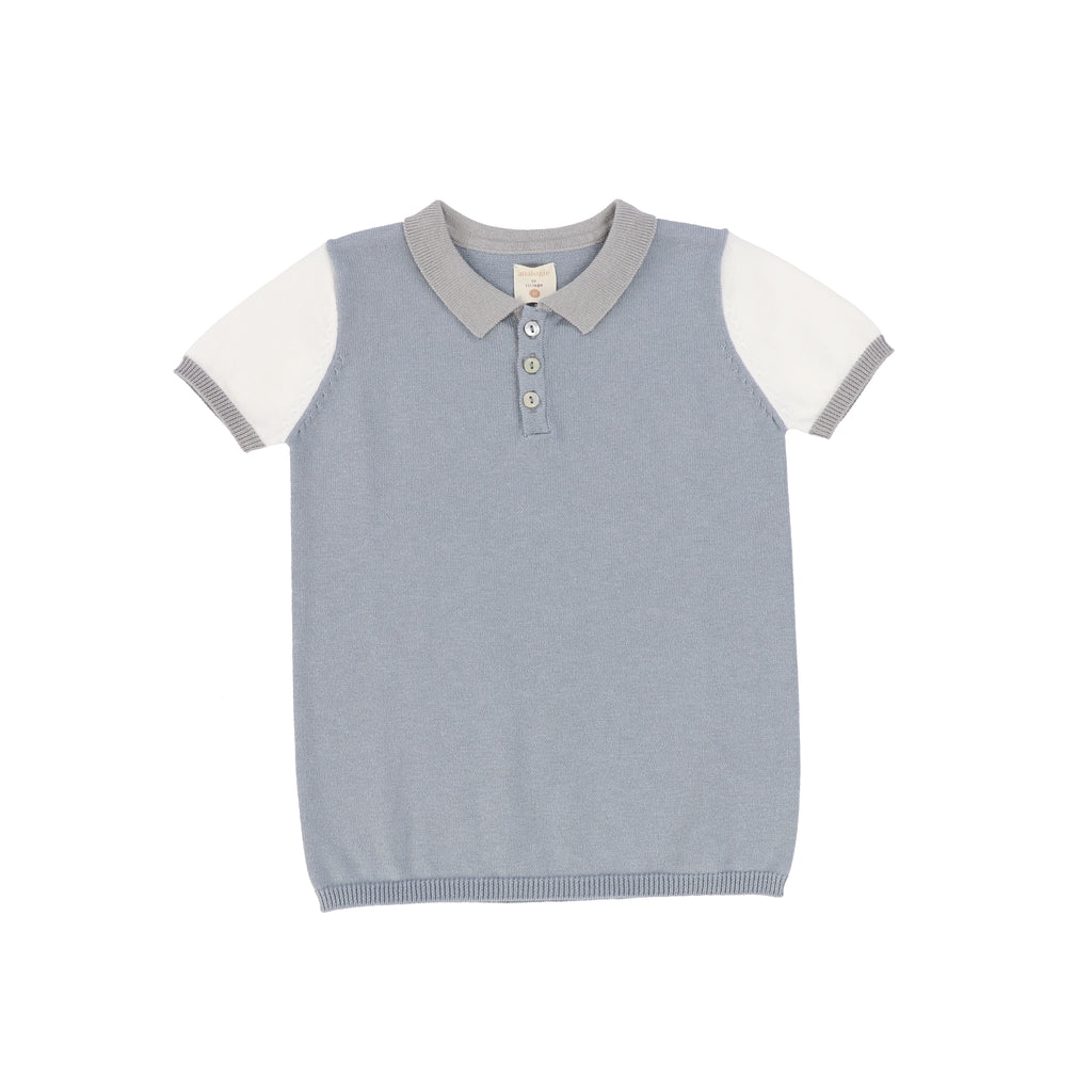 Analogie Blue Colorblock Knit Polo