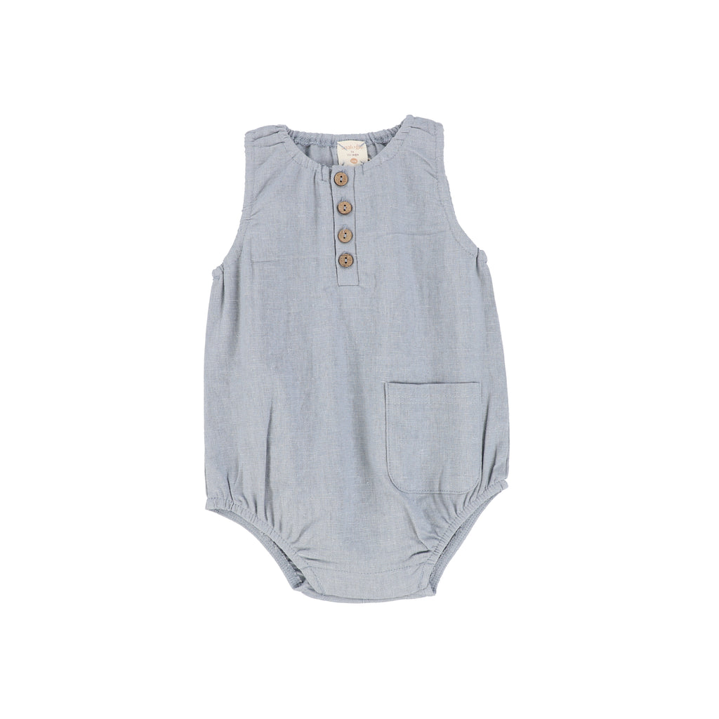 Analogie Blue Linen Pocket Romper