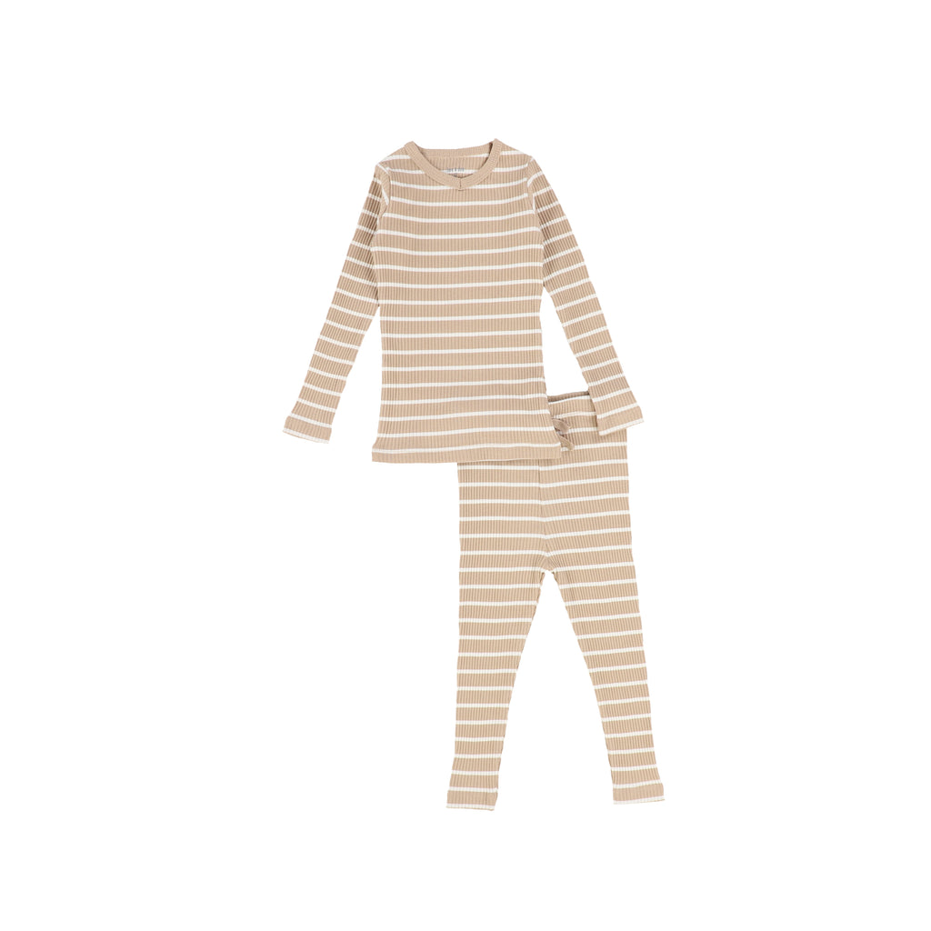 Bee & Dee Camel & Ivory Striped Loungewear
