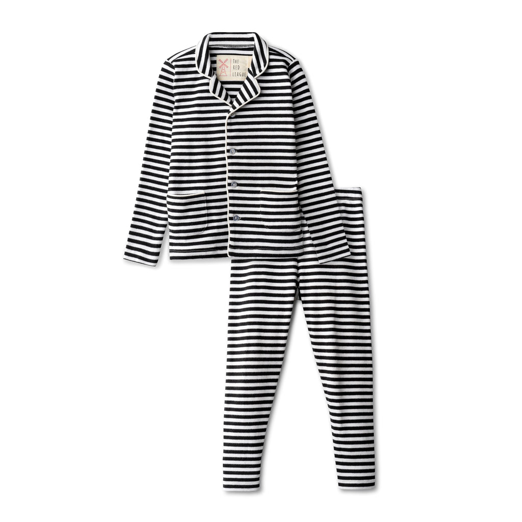 The Red League Black Striped Grandpa Loungewear