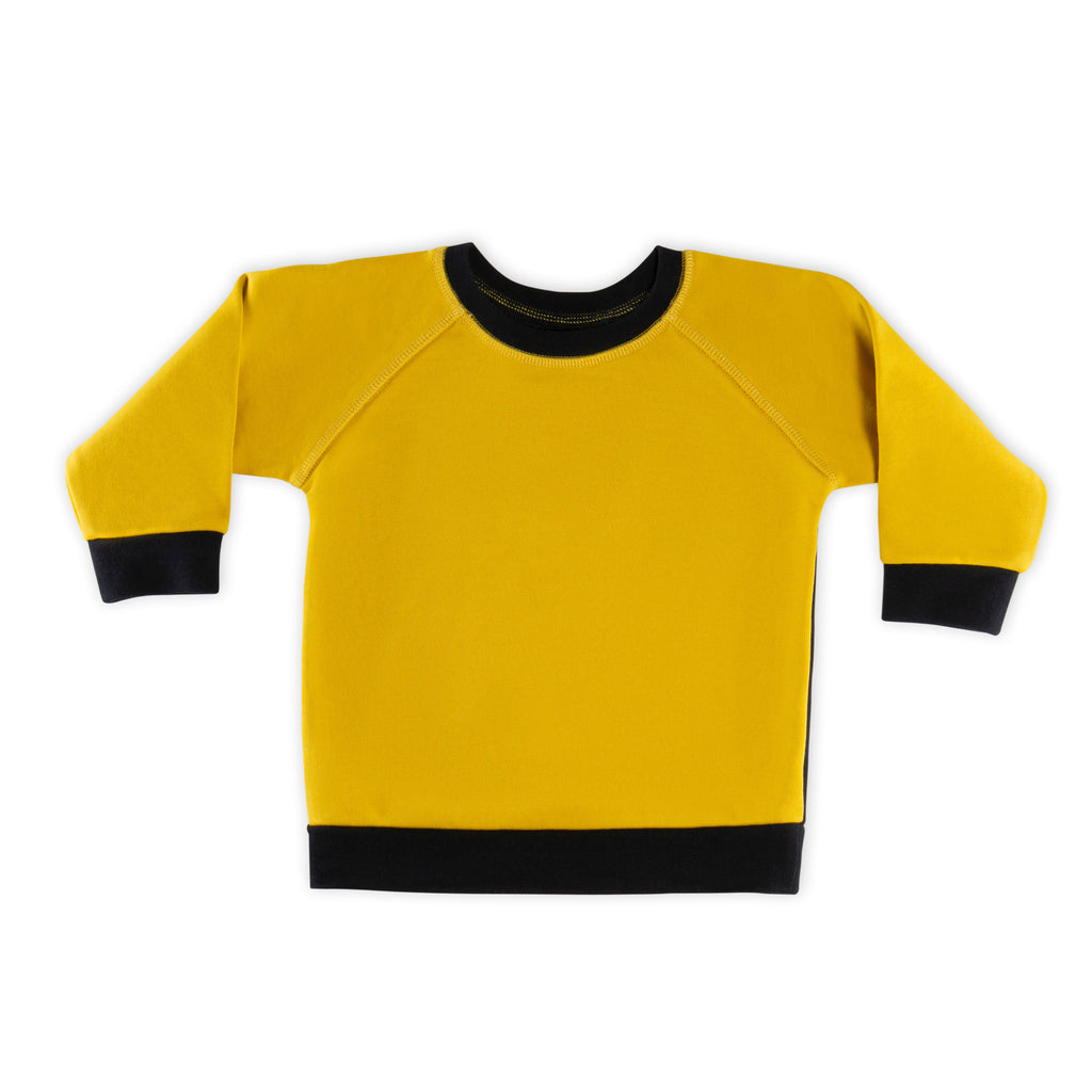The Red League French Terry Black & Mustard Top