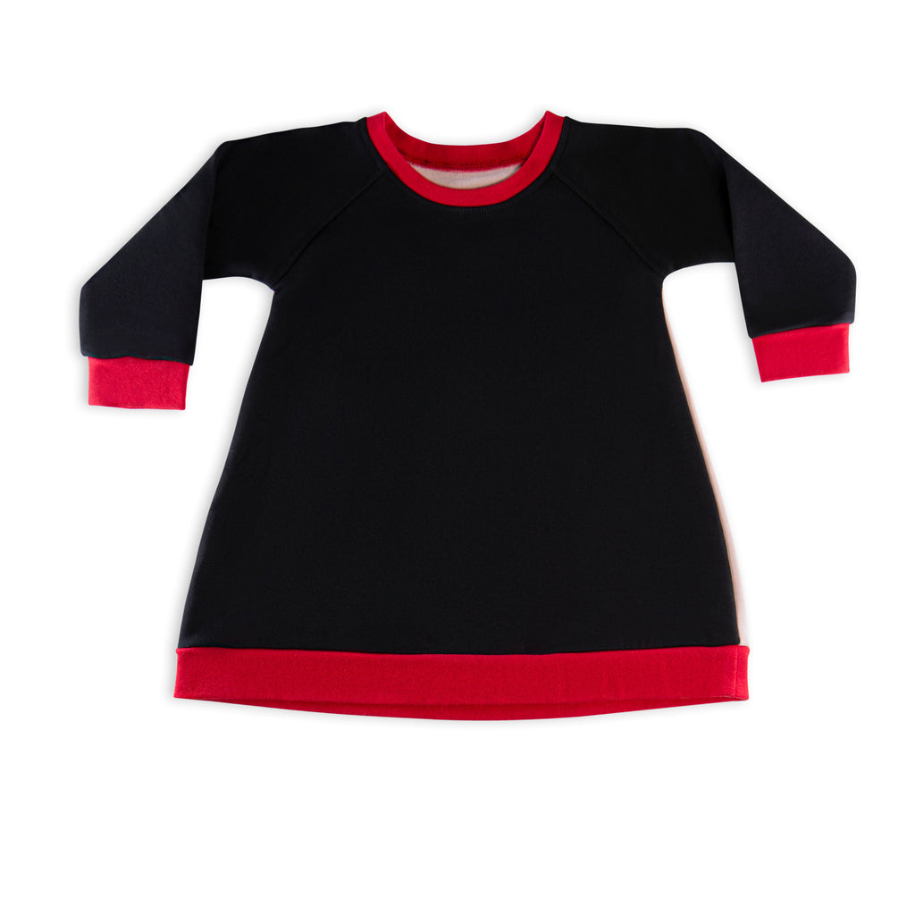 The Red League French Terry Black Pink & Red Dress