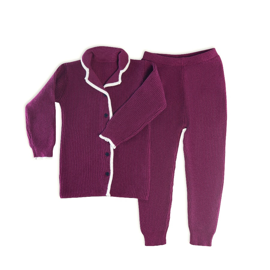 The Red League Burgundy Sweater Ribbed Grandpa Pajamas
