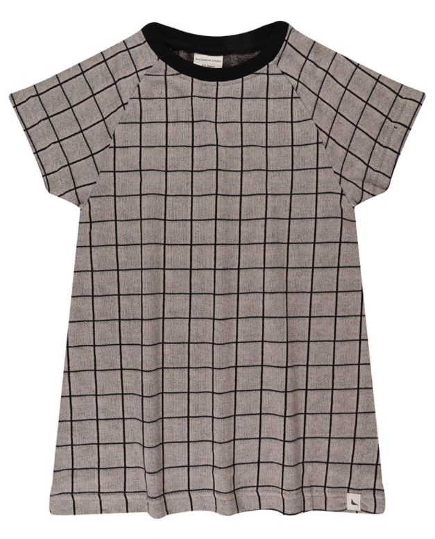 Turtledove Grey Grid Jacquard T Dress