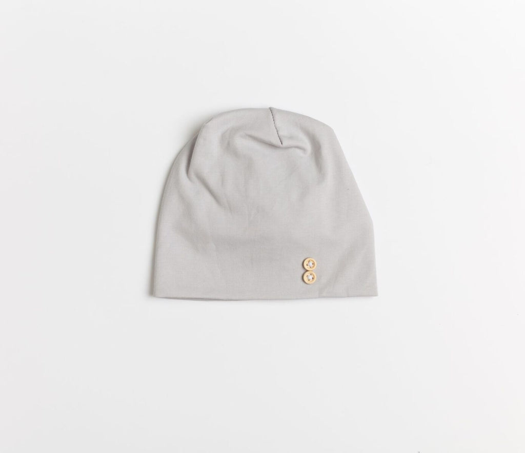 La Design Flat Grey Button Baby Beanie
