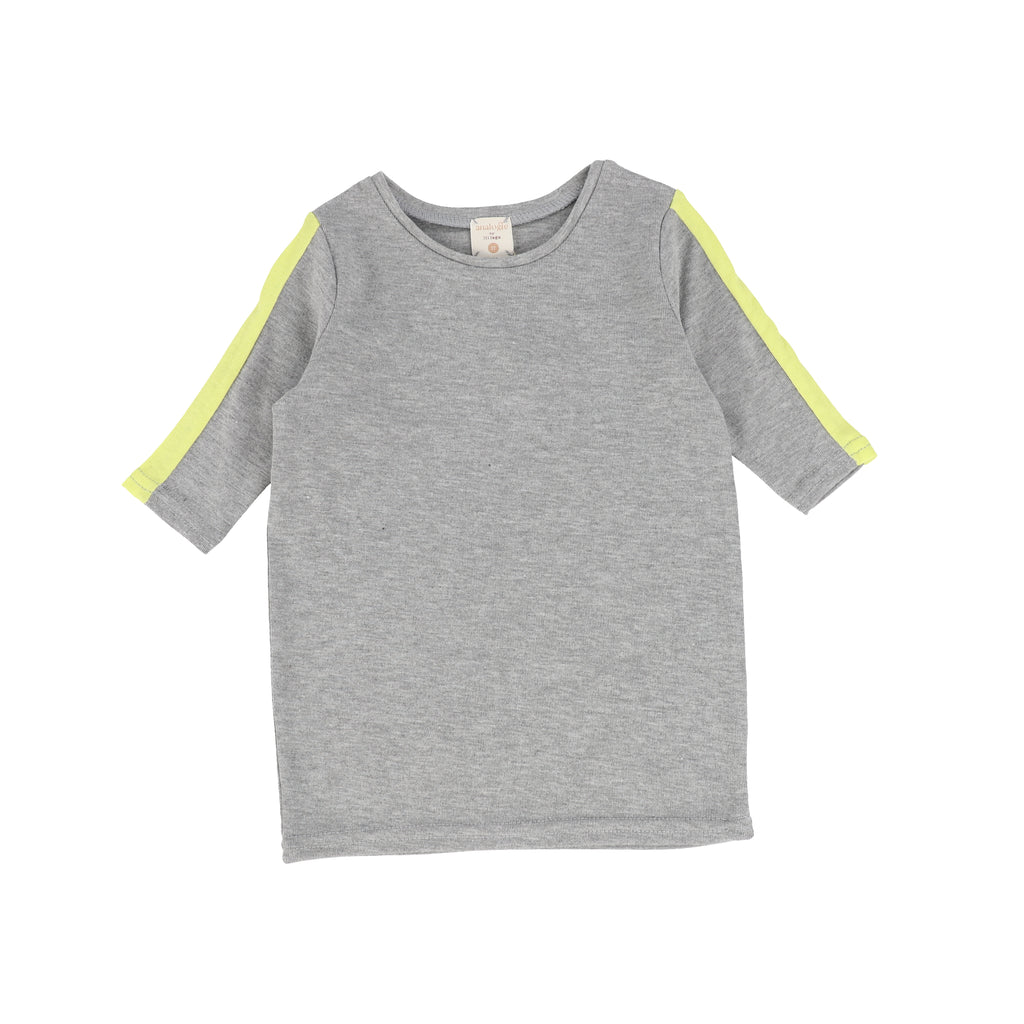 Lil Legs By Analogie Grey Neon Linear 3/4 Sleeve Tee