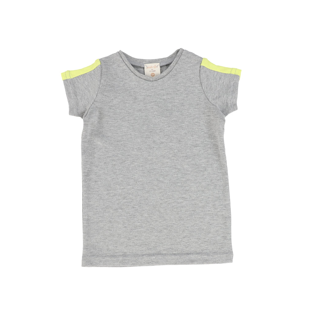 Lil Legs By Analogie Grey Neon Linear V Tee