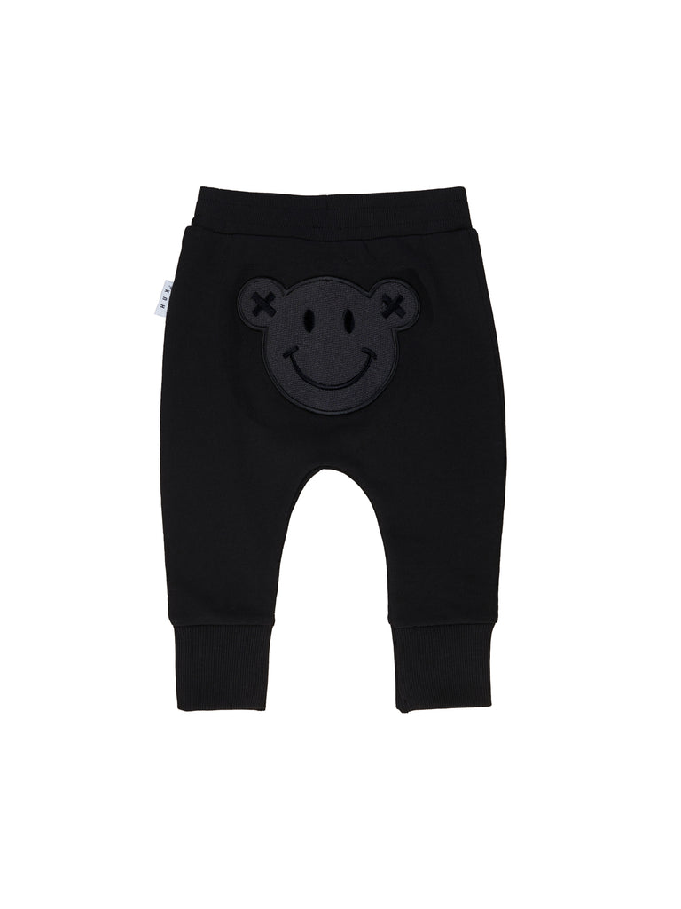 Hux Baby Black Smiley Drop Crotch Pants