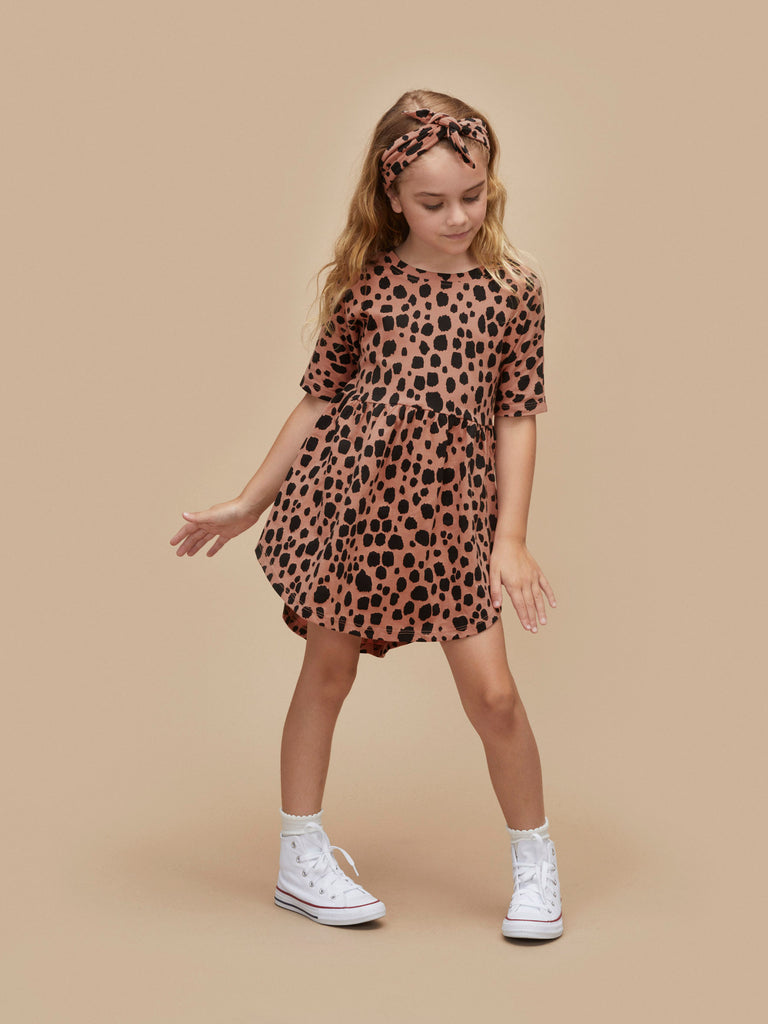 Hux Baby Terracotta Ocelot Swirl Dress