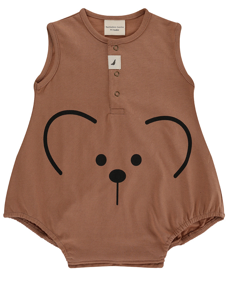 Turtledove Bear Face Bubble Romper