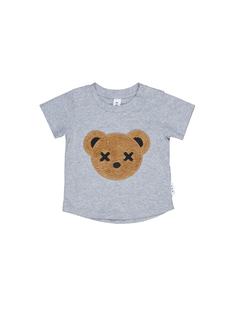 Hux Grey Marle Bear Applique T-shirt