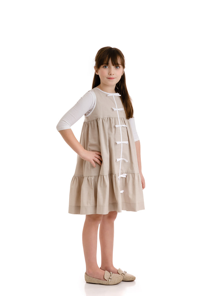 Velvette Label Sand Tiered Bow Dress