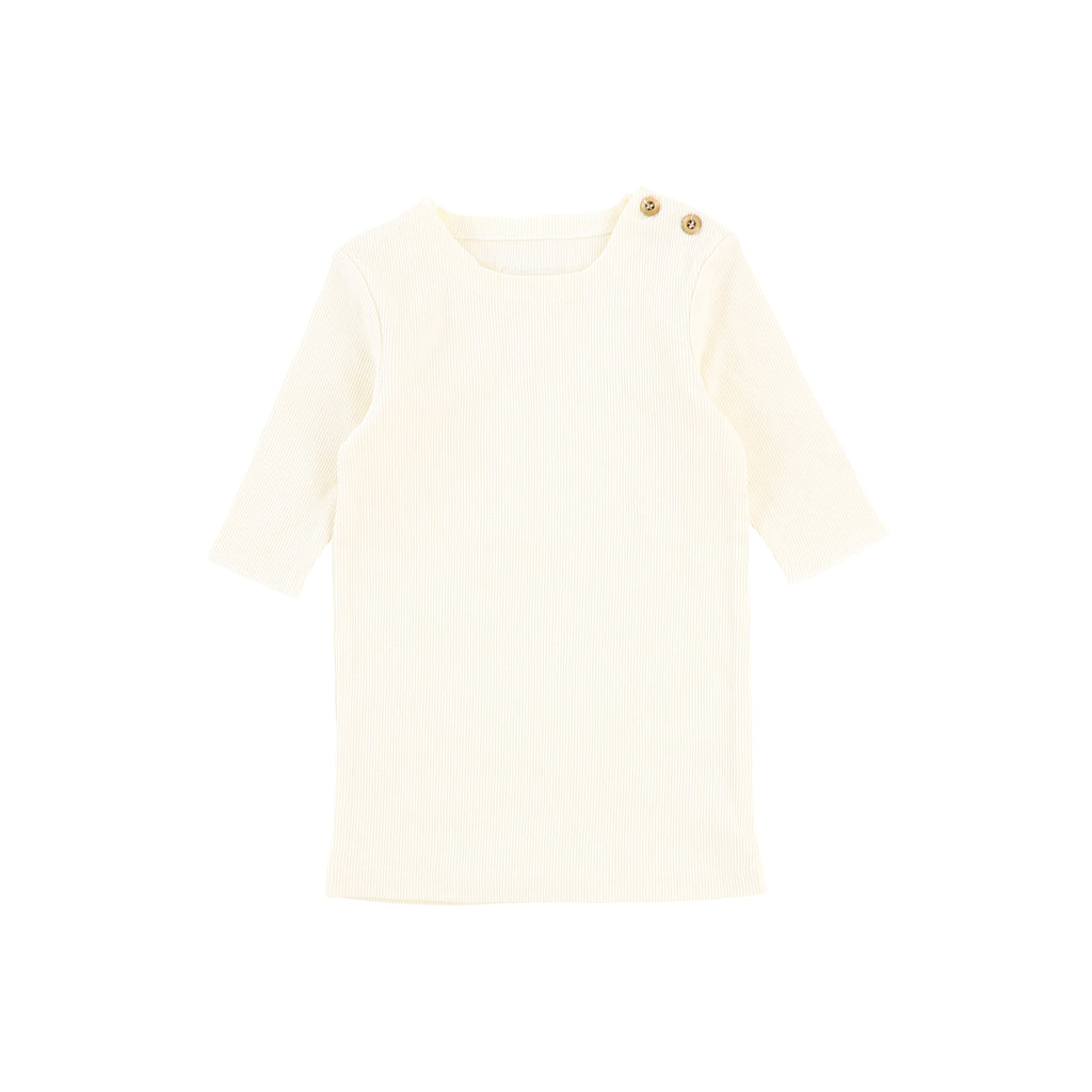 Lil Legs Ivory Three Quarter Sleeve Ribbed T-Shirt