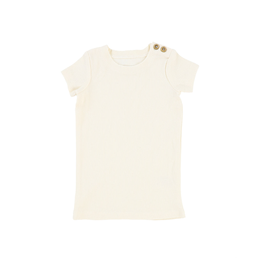Lil Legs Ivory Short Sleeve Ribbed T-Shirt
