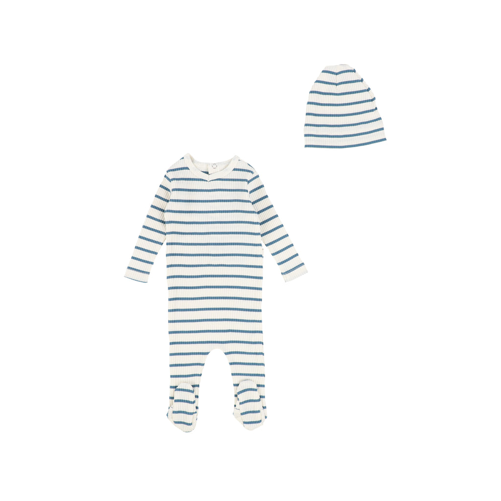 Bee & Dee Ivory & Blue Striped Ribbed Footie