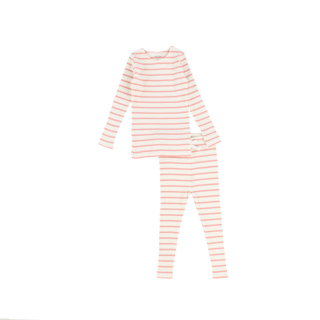 Bee & Dee Ivory & Pink Striped Loungewear