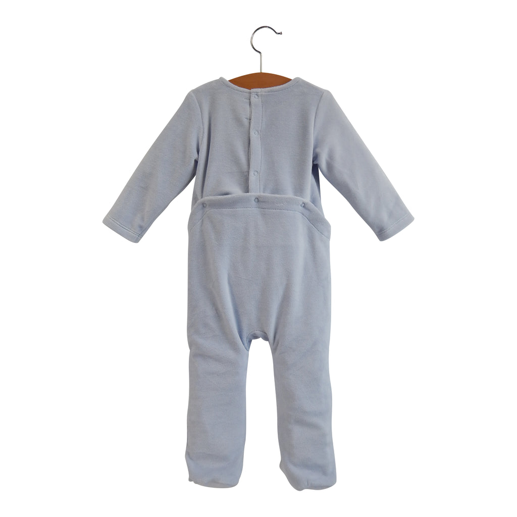 Brio Bebe Halogen Blue Velour Buttons Footie