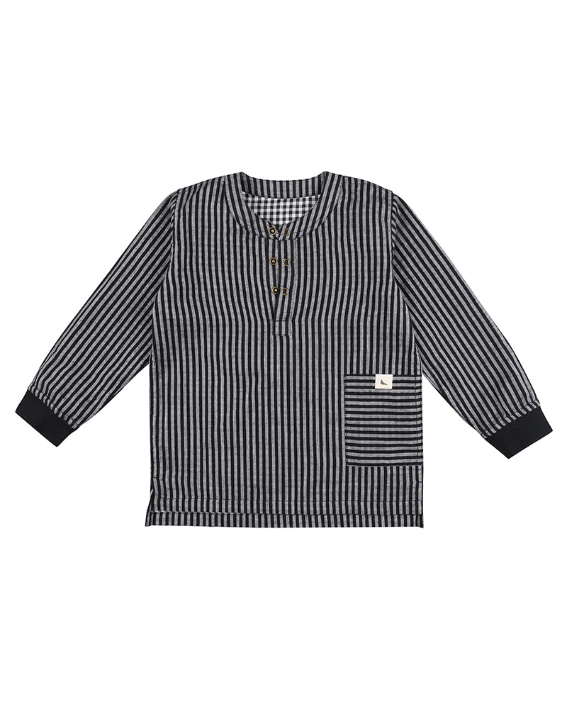 Turtledove Black & Grey Stripe Check Reversible Shirt