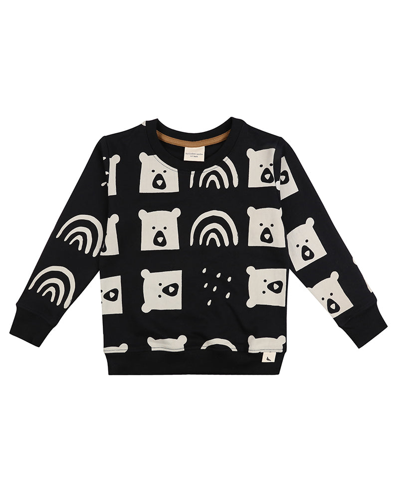 Turtledove Black & Cream Rain Bear Sweatshirt