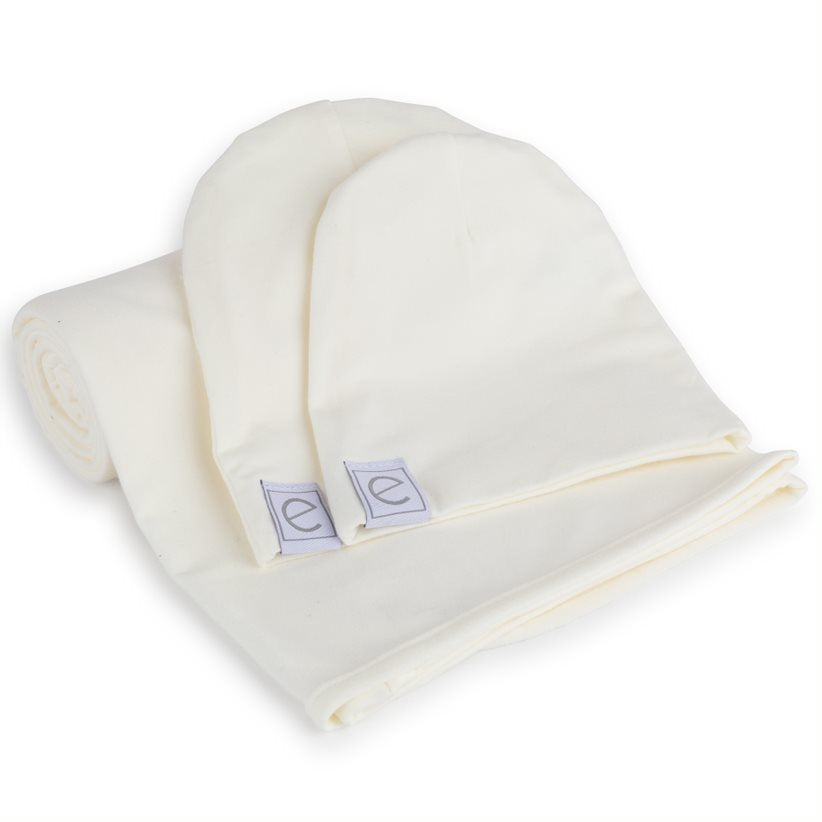 Ely's & Co. Ivory Swaddle & Baby Hats Gift Set