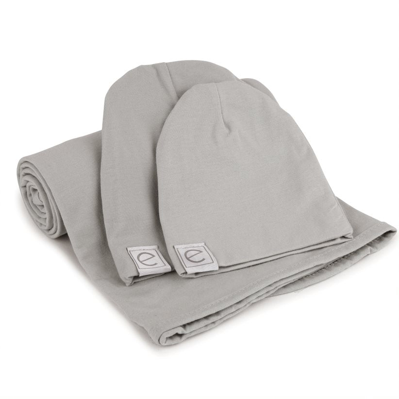 Ely's & Co. Grey Swaddle & Baby Hats Gift Set
