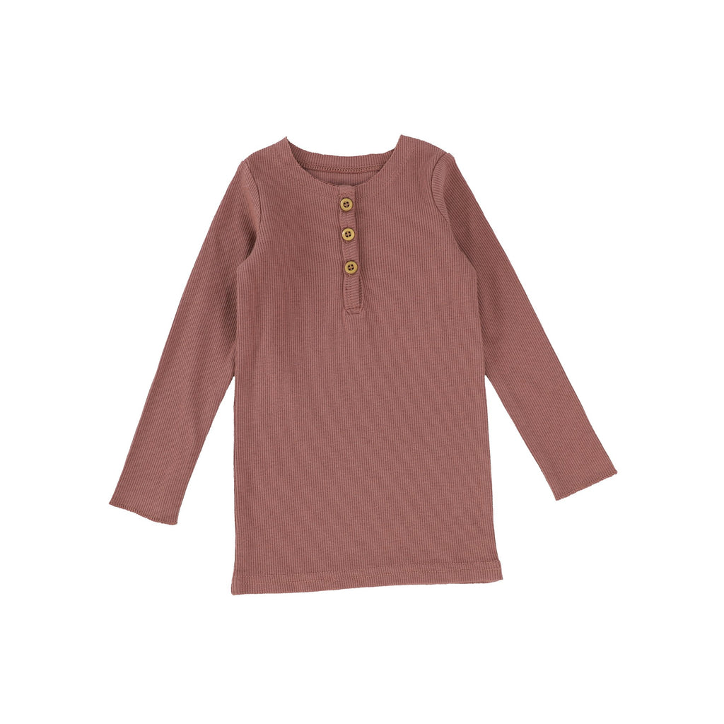 Lil Legs Dusty Rose Center Button Long Sleeve  Tee