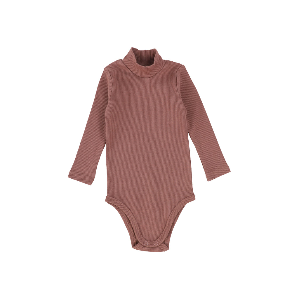 Lil Legs Dusty Rose Rib Turtleneck Onesie