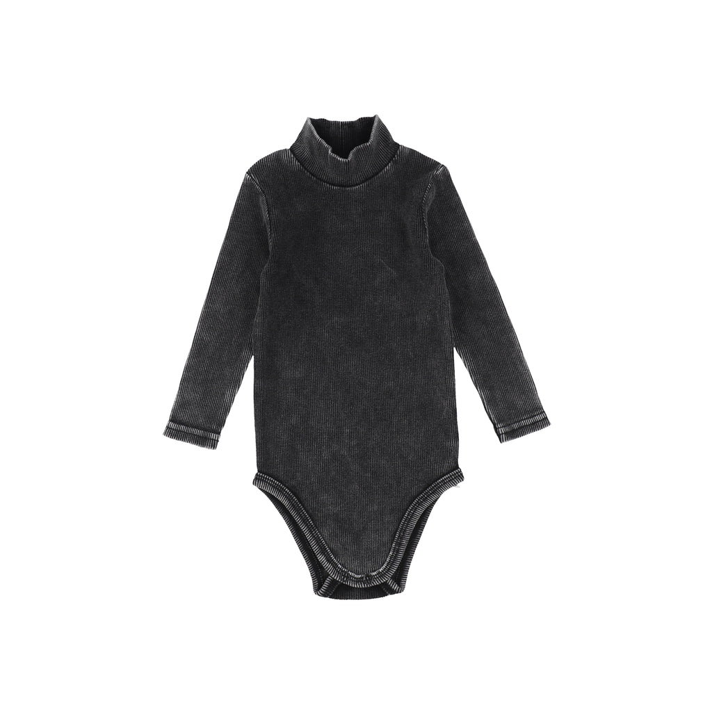 Lil Legs Black Wash Rib Turtleneck Onesie