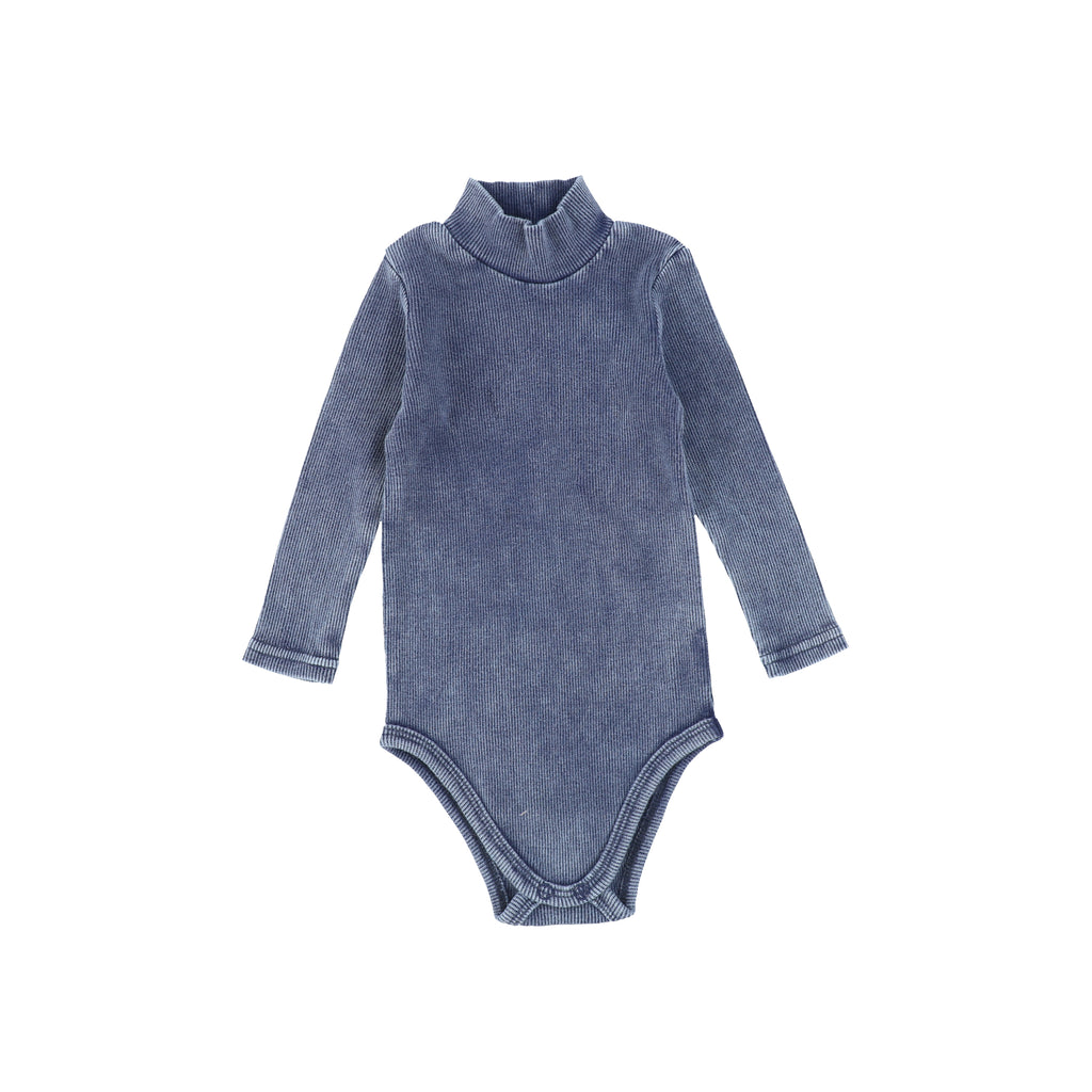 Lil Legs Blue Wash Rib Turtleneck Onesie