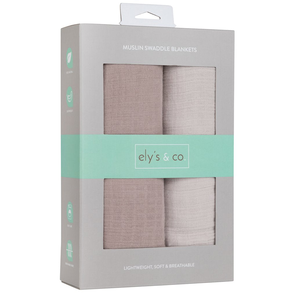 Ely's & Co. 2 Pack Taupe & Grey Swaddle Blankets