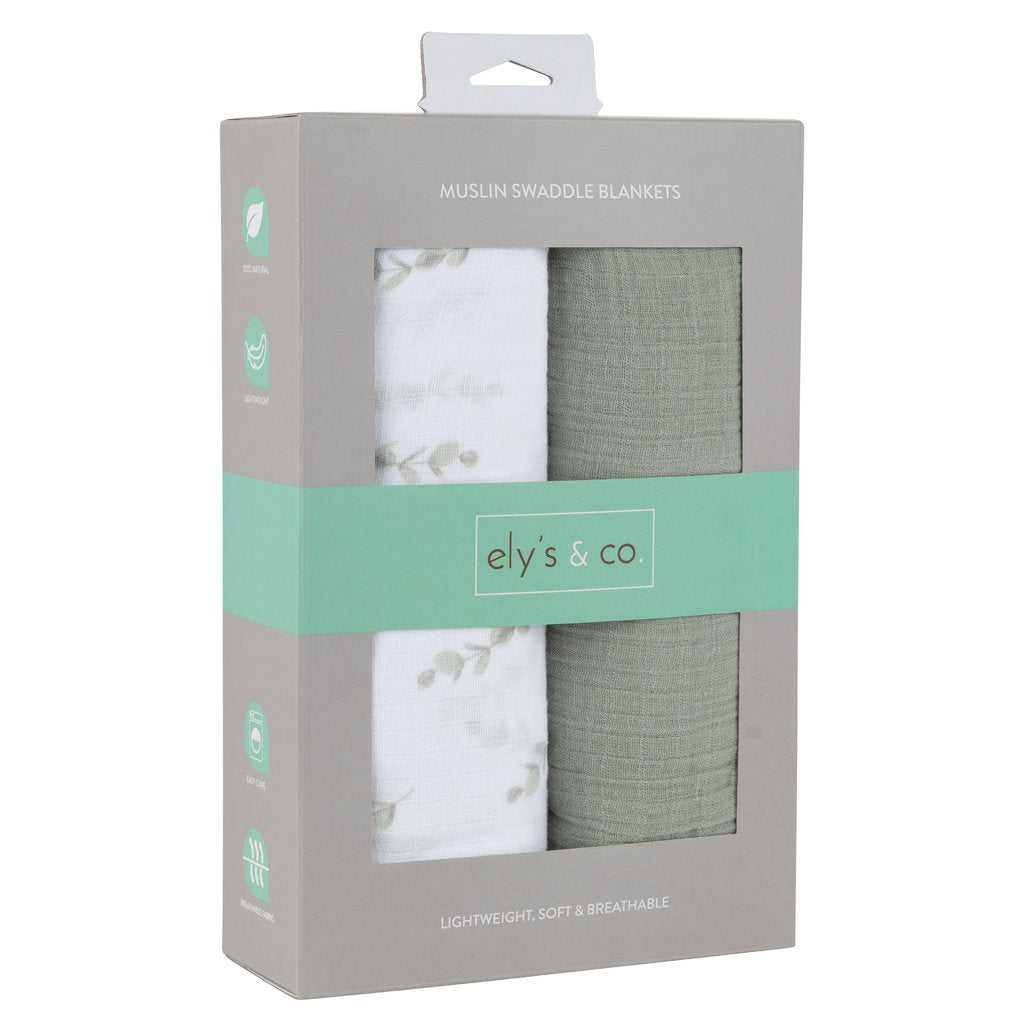 Ely's & Co. 2 Pack Sage Eucalyptus Swaddle Blankets