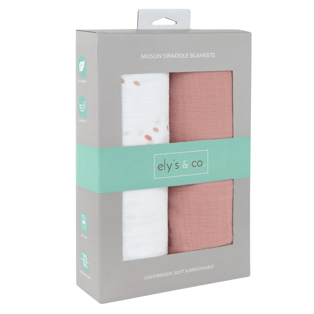 Ely's & Co. 2 Pack Pink Swaddle Blankets