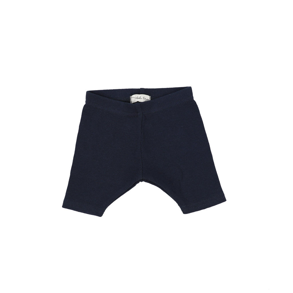 Lil Legs Navy Ribbed Shorts