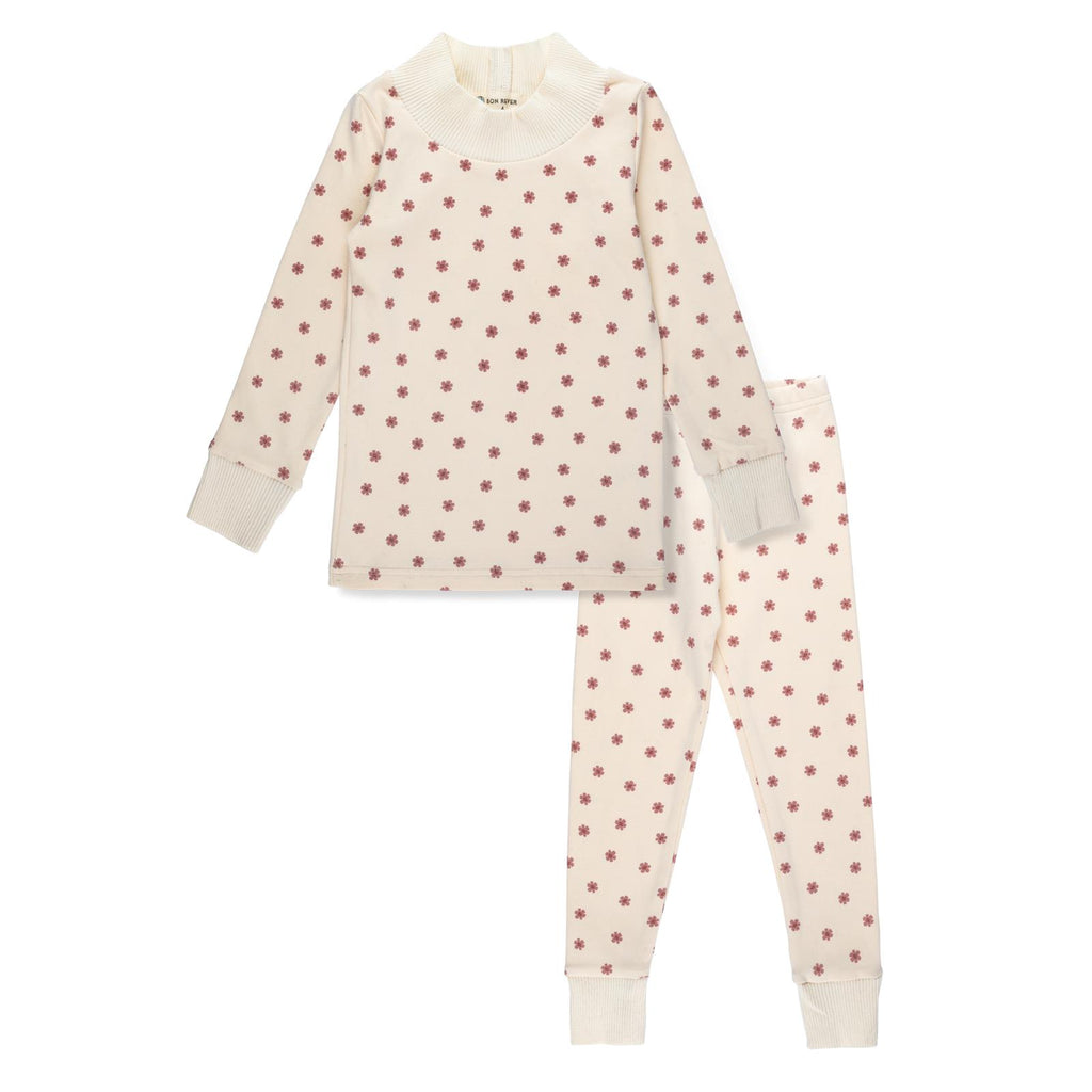 Bon Rever Ivory With Pink Flowers Loungewear