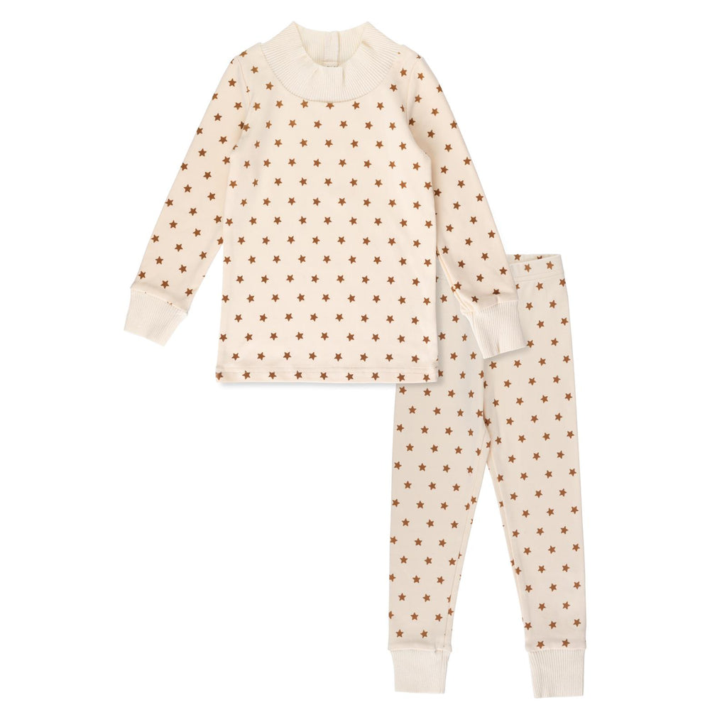 Bon Rever Ivory With Camel Stars Loungewear